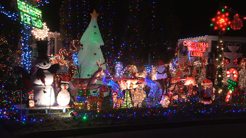 Toronto, Ontario, Canada December 2015 House with thousands of Christmas  lights covering it - Toronto, Ontario, Canada December 2015 Stock Footage Video (100