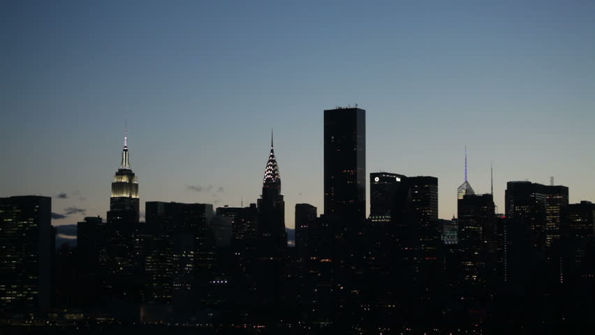 Midtown Manhattan skyline with clear sky at sunset in New York City, USA. | Shutterstock HD Video #15685255