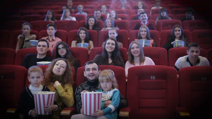 People Watching Movie In Cinema Stock Footage Video ...