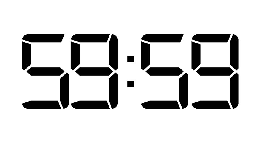 one minute count down to 0 60fps red digital clock stock
