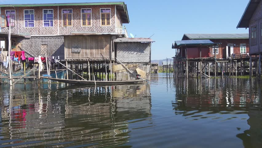 Stilted houses in village on famous Inle Lake, 4k - 4K stock video clip