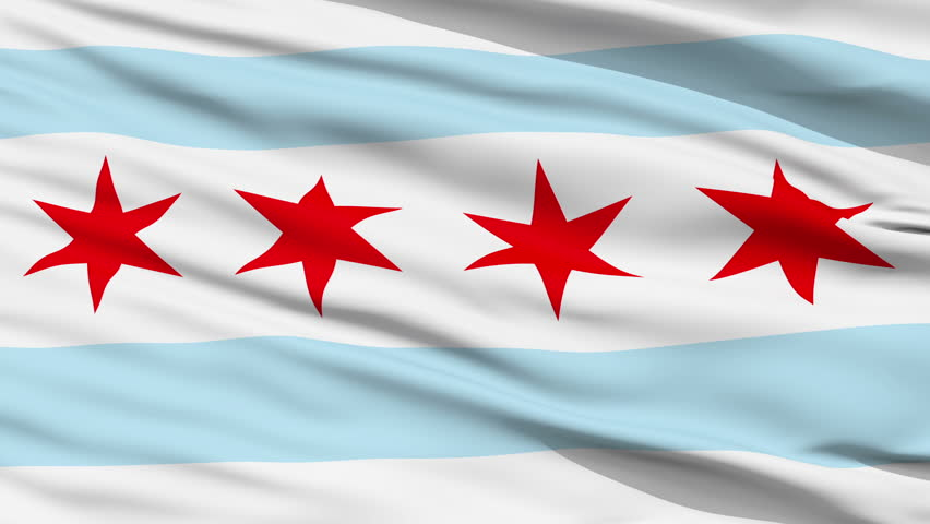 Chicago City Flag Close Up Realistic Animation Seamless Loop - 10 Seconds Long