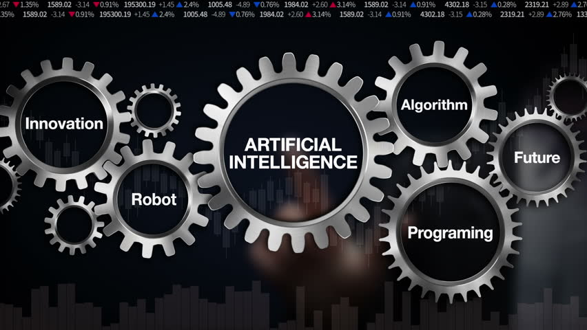 Gear with keyword, Future, Programing,  Algorithm, Innovation, Robot, Businessman touch screen  'ARTIFICIAL INTELLIGENCE'(included alpha)