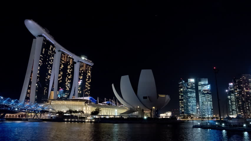 Singapore Circa April 2015 Time Lapse Of The Eastern Part Of The Magnificent Singapore Skyline With The Marina Bay Sands Hotel And The Light Show