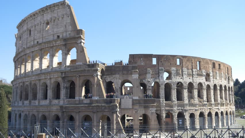 Famous Italian Architecture coliseum, rome, italy. roman colosseum on summer day with blue sky