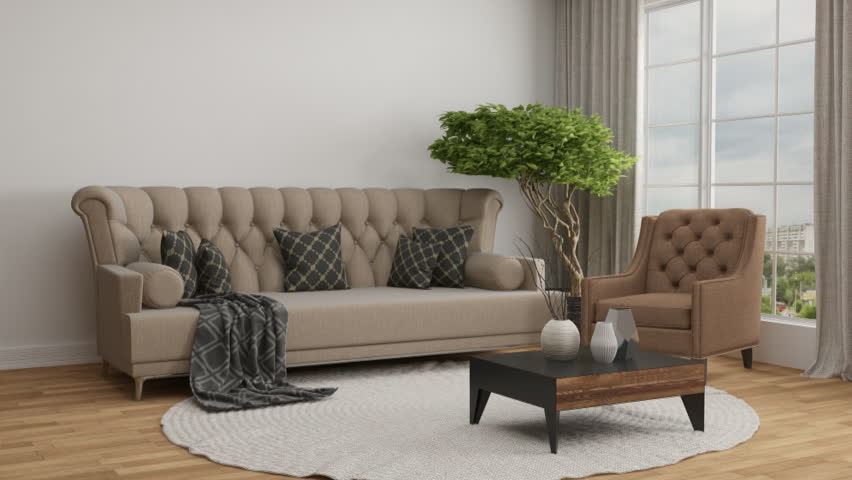 Building Up Modern Living Room 3D Illustration