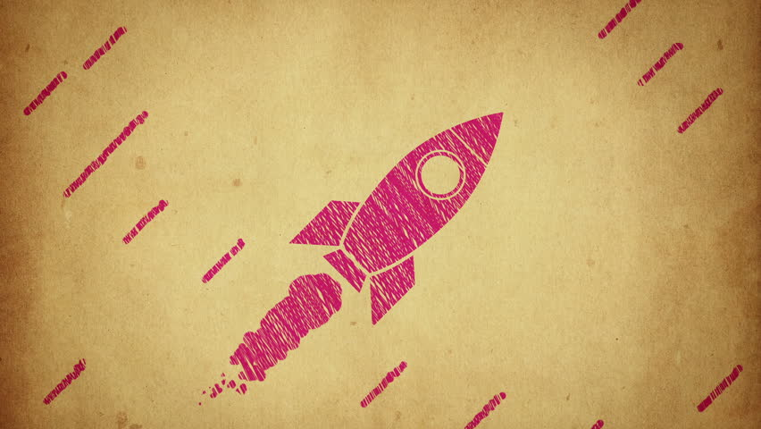 Animation of flying rocket with view from cosmos in drawing style. Animation in stop motion style. Animation of seamless loop.   Shutterstock HD Video #15917515