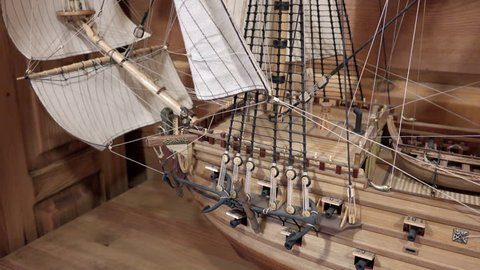 Russia, Saint-Petersburg, pos. Lahti, 21 October 2015 bowsprit Mainsail Mizzen Bom Cleaver Cruys mizzen sails and masts on the layout of the old wooden warship