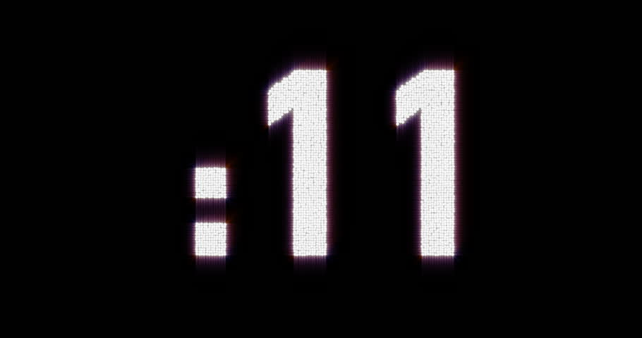 Glowing timer countdown with blinking colon 27 to 0. (av23093c)