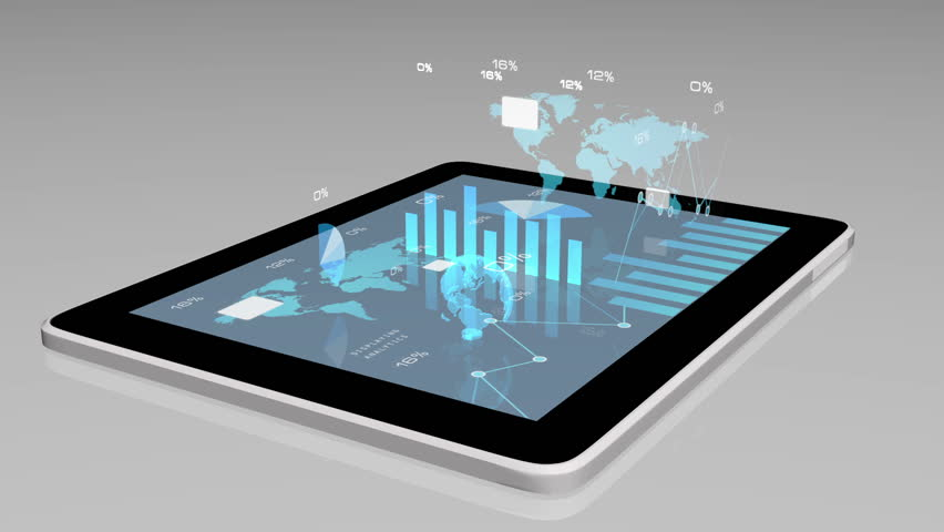 Animated modern financial instruments (graphs, charts and Earth globe) on a tablet screen | Shutterstock HD Video #15965032