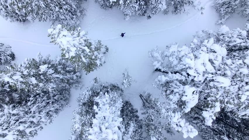 SOS! Aerial/Drone Footage of a Blizzard Aftermath near Breckenridge. Colorado Rocky Mountains | Shutterstock HD Video #15970405