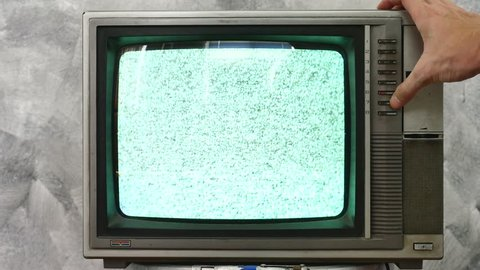 Analog TV  with signal bad interference.