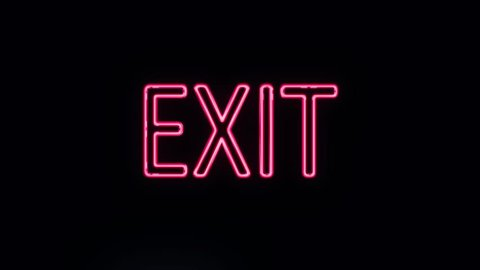 Realistic Neon Exit Sign Turning On
