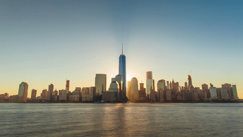 4K Timelapse of the Sunrise over the Manhattan, New York