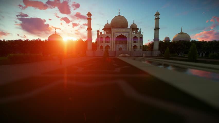 Taj Mahal beautiful sunset, panning | Shutterstock HD Video #16009585