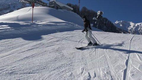 Ski resort Krasnaya Polyana. Sochi. Russia. Exciting skiing on the slopes of Rosa Khutor.