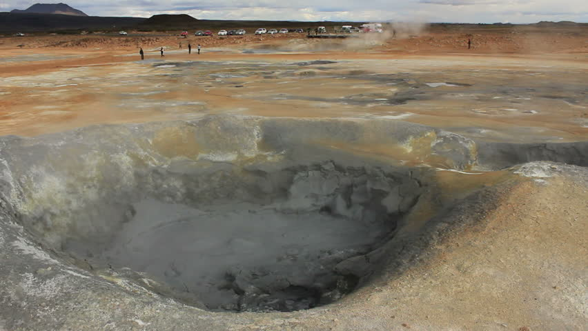 Boiling mud fumarole on Iceland - Wide shot