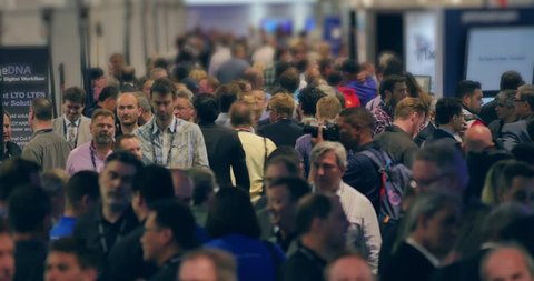 LAS VEGAS - April 20, 2016: Crowd of people at NAB Show 2016 exhibition in Las Vegas Convention Center. NAB Show is an annual trade show produced by the National Association of Broadcasters.