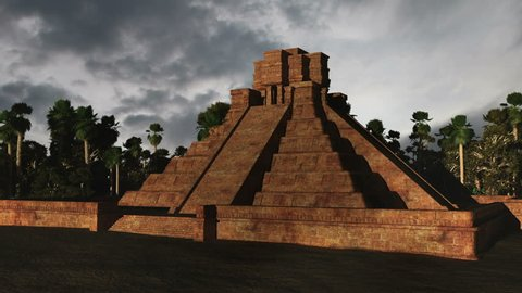 Maya Pyramid Clouds Timelapse Realistic Stock Footage Video (100