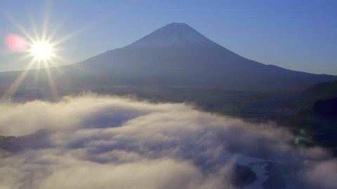 Sunrise over Lake Shoji and Mt Fuji, Fuji Hazone Izu National Park, Japan