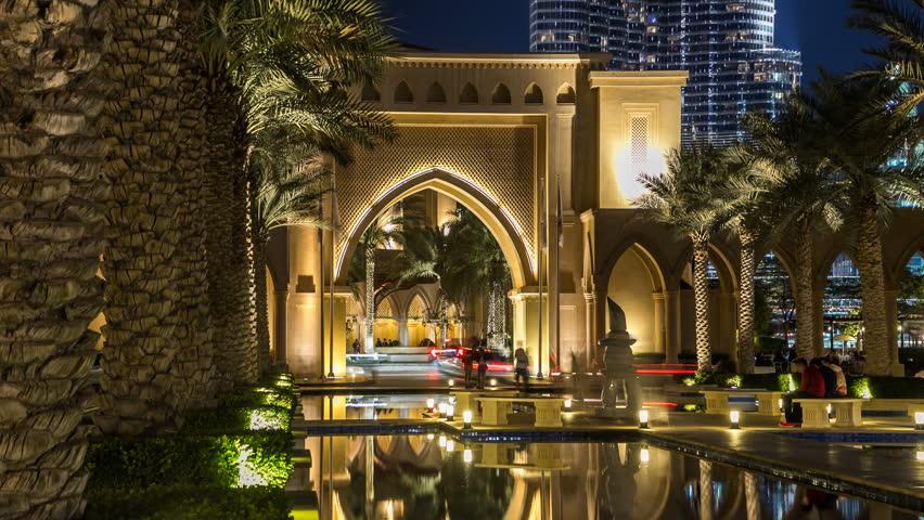 Entrance of Hotels, offices and Souk near Burj Khalifa the tallest building in the world timelapse hyperlapse in Dubai, UAE