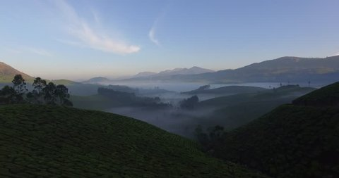 Aerial shot, moving down over green hills into morning fog in Munnar, India