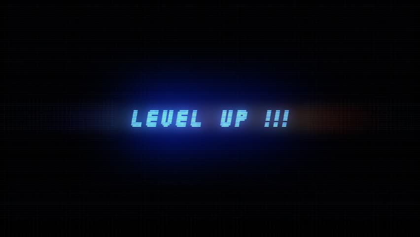 LEVEL UP ELECTRIC BLUE ANIMATION AND GRID / LEVEL UP AND GRID / Level Up Text Glitching in electric blue color and very light grid background