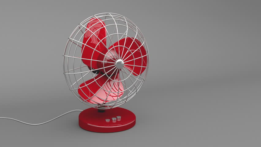 Red electric fan rotate and blow fresh air
