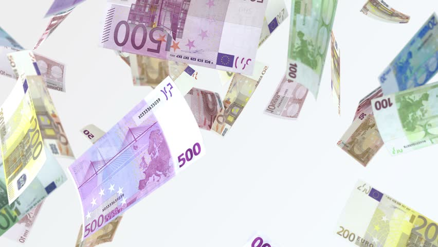 Rain from euro banknotes. 4 k looped video. Smoothly falling euro banknotes. Denominations par value: €10, €20, €50, €100, €200, and €500. resolution: 4K UHD (3840x2160) codec: Quick Time photojpg | Shutterstock HD Video #16199431