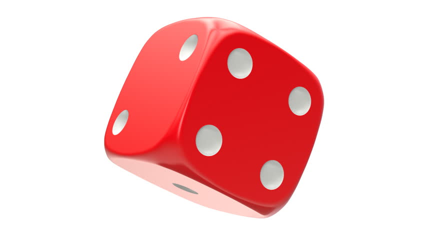 Rotated red dice, seamlessly loopable with alpha mask - 3D illustration