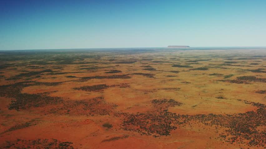 Deserted arid Australian landscape - Outback Aerial high and wide shot
