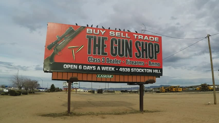 Gun Store Sign Footage Stock Clips