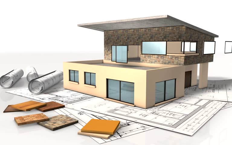 Construction From A House In 3d Animation Hd Stock Footage Clip