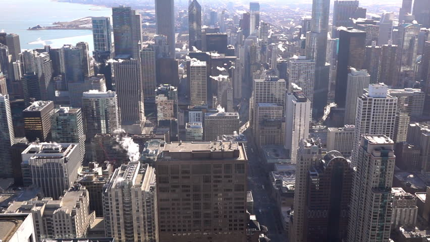 CHICAGO, ILLINOIS - CIRCA 2016: Buildings in city of Chicago seen from high above slow motion. | Shutterstock HD Video #16333345