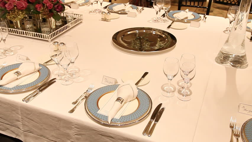 elegant table settings. Elegant Candlelight Dinner Table Setting At Reception - HD Stock Video Clip Settings R
