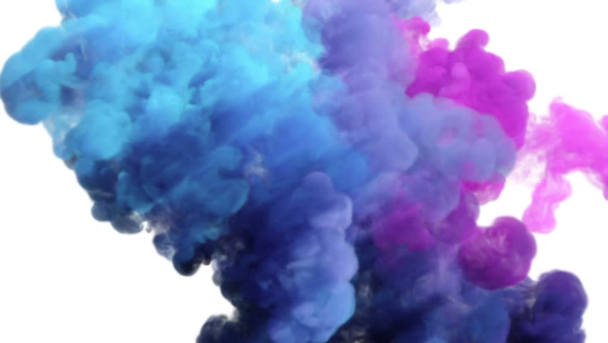 Colored smoke explosion on white (slow motion, with alpha matte, full hd)