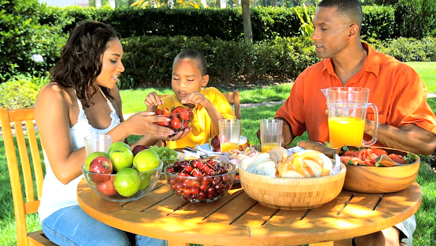 African American Family Healthy Eating Stock Footage Video