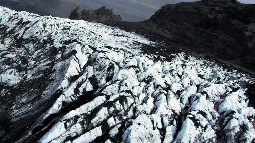 Aerial View of Sedimentary Volcanic Dust on Glacier, Iceland