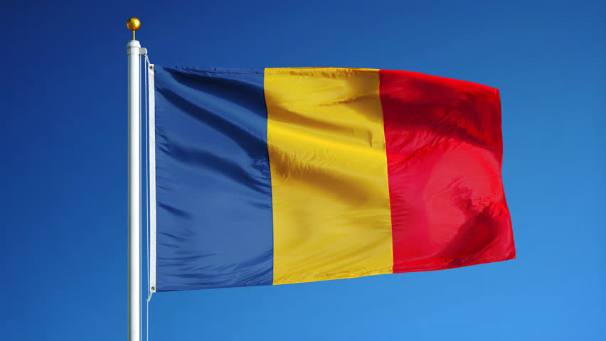 Chad Flag Waving In Slow Motion Against Clean Blue Sky Seamlessly - Chad flag