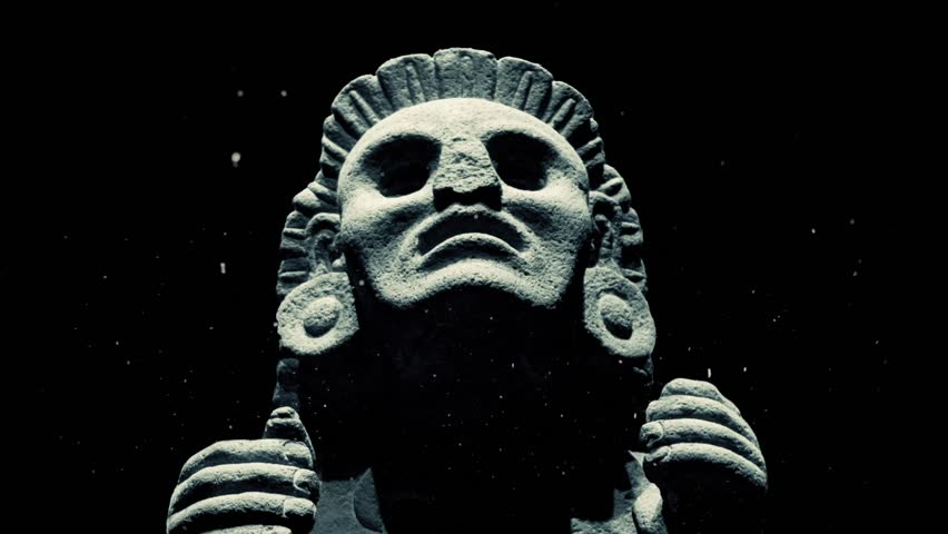 Ancient Mayan Statue With Dust Particles