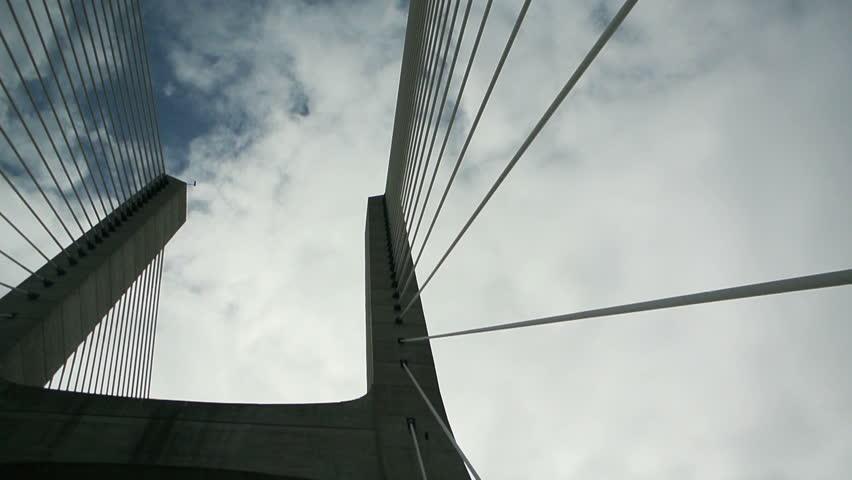 Driving over Vasco Da Gama (Portuguese: Ponte Vasco da Gama) bridge - the longest bridge in Europe