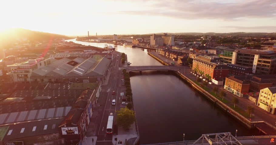 Aerial of the City of Cork, Ireland at Sunrise | Shutterstock HD Video #16528825