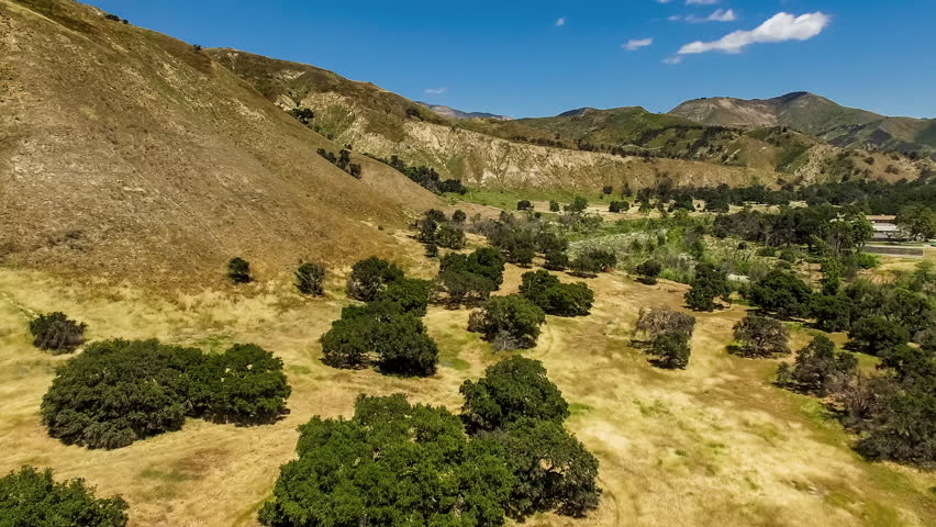 Aerial view of rolling hills, oak trees, ridges, dry brush and green chaparral juxtaposed in the drought ridden central coast region of California, near Santa Barbara and Los Padres National Forest