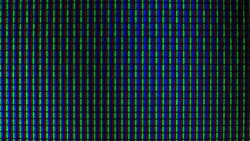 RGB pixels on the TV during the screening of the film, macro, close-up