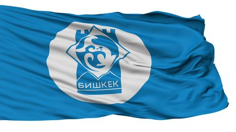 Bishkek Capital City Flag of Kyrgyzstan, Isolated Realistic 3D Animation, Seamless Loop - 10 Seconds Long