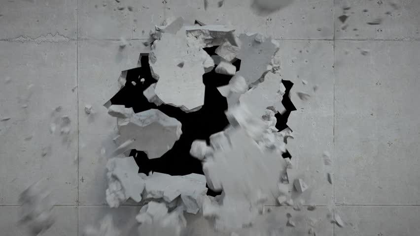 3d render, breaking wall, concrete, destruction, fragments falling, blowing | Shutterstock HD Video #16655275