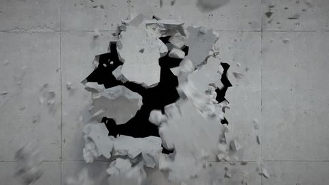 3d render, breaking wall, hole, concrete, destruction, fragments falling, blowing