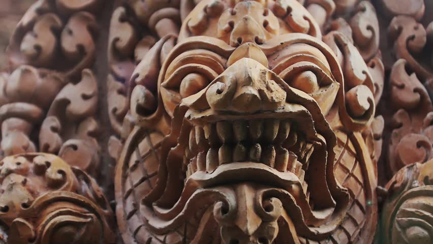 Bas relief carvings cambodian god stock footage video