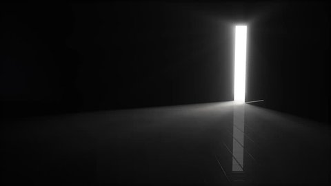 A door opening to dark room with bright light shining in.  Background 3D Illustration. 4K resolution.  6 seconds.