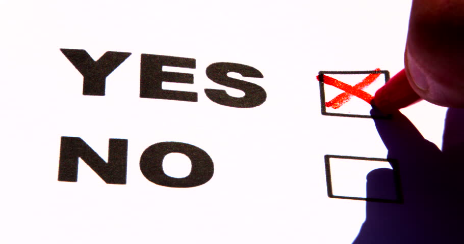 Red Pen Ticking Yes, No Question or Voting Box. Also Red Pen Drawing A Question Mark.
